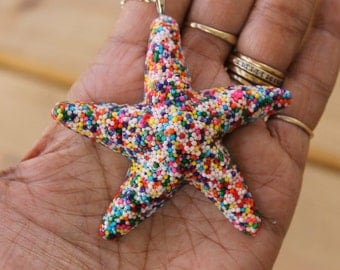 Sprinkle Starfish Necklace, Sweet Ocean Sprinkle Starfish Resin Beach Nautical Necklace Handmade By: Tranquilityy