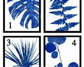 Pick a Pair Blue and White Graphic Botanical Prints