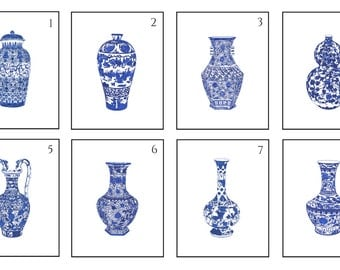 Pick Three Blue and White Chinese Porcelain Fine Art Prints