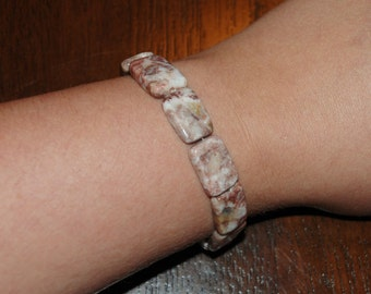 Handmade stretch bracelet with rectangular marble beads