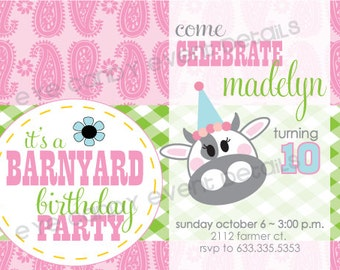 BARNYARD Birthday INVITE -  customized Birthday- FARM party - Printable Party Pack Collection