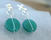 Turquoise earrings,Teal e...