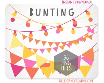 Bunting Clipart & String of Lights in Pink Orange and Yellow - INSTANT DOWNLOAD