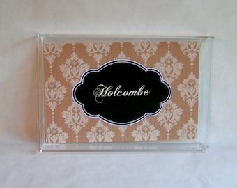 Monogram Tray - Acrylic Tray - Catchall Tray - Personalized Tray - Office Tray - Wedding Gift- Dorm Decor - Custom Lucite Tray 6.5 x 9.5