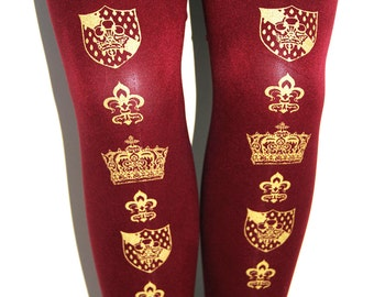 L Crown Printed Tights Large Gold on Bordeaux Deep Red Burgundy Oxblood Wine Royal Womens Medieval Fleur De Lys Gothic