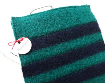 Wool Pot Holders / Hot Pads EMERALD STRIPES Green Navy Blue Eco Kitchen Felted Sweater Wool Hotpads Housewarming Gift Potholders WormeWoole