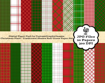 Christmas Plaid Digital Paper Pack - Traditional Shades Red & Green - The Plaid Series - 20 Papers - Scrapbooking - Instant Download