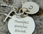 Religious Necklace, Confirmation Gift, Religion , Blessed Necklace, Thankful Grateful Blessed, Cross