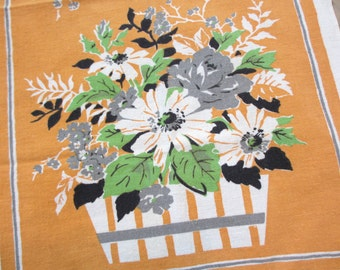 Startex Flowers. Sweet midcentury floral kitchen towel / basket flower arrangement / gray orange green