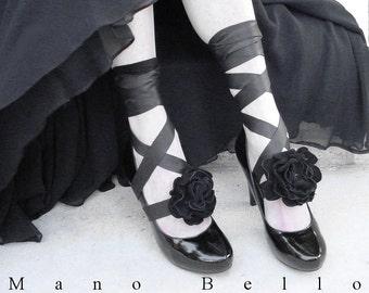 Black Leather Flower Bootstraps, Leather Flower Headbands, Spats Alternative, Steampunk Weddings, Black Weddings, custom made