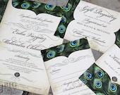 Vintage Peacock Feathers Wedding Invitation Set. Sophisticated Peacock wedding invitations. Exquisite peacock feather wedding invitations