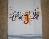 Happy 4th of July Embroidered Clothesline Towel