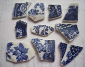 Deep Blue China Prints Sea Pottery, Beach Pottery SP1334