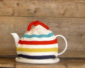 Teapot Cozy, Knit Hudson's Bay Style Tea Cosy, Canadianna Tea Cosy, Retro Kitchen Decor Cosy, Navy, Cream, Yellow, Red and Turquoise Stripes