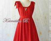 A Party Dress One Shoulder Layered Bow Dress Red Dress Prom Dress Party Bridesmaid Dress Wedding Dress Anniversary Dress