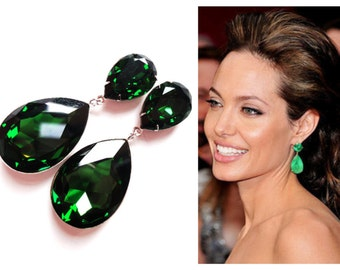 ON SALE Angelina Jolie's Inspired Extra Large Dark Moss Green Swarovski Crystal  Earrings with 925 sterling Silver Posts