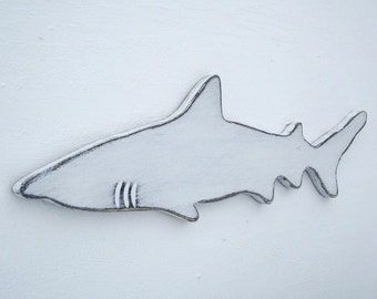 wood shark nautical wall art