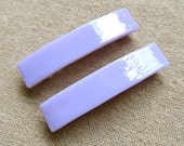 """Tiffany Glass Barrette - SMALL 2.5"""" 65mm - Soft Lavender Purple - Pastel Baby Pink - Pale Violet Pink"""