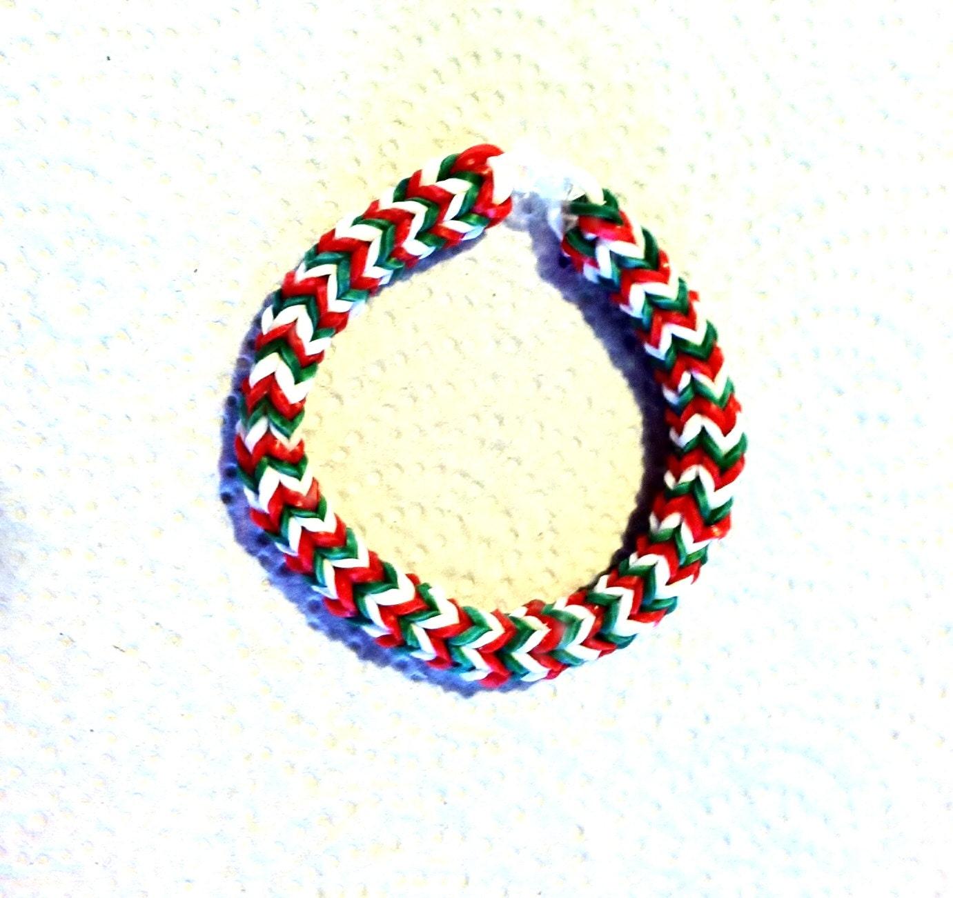 Rainbow Loom Hexafish Bracelet CHRISTMAS CANDY Size 6