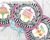 "Paris Party Printable 4"" Themed Party Circles by Cutie Putti Paperie"
