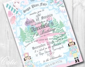 Sugar Plum Fairy Party Invitations, 5x7 Printable Custom Invitations by Cutie Putti Paperie
