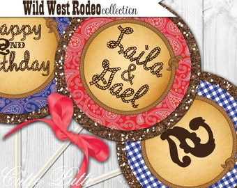 "Western Party Printable 4"" Custom Party Circles by Cutie Putti Paperie"