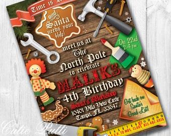 Weihnachtsfeier, Die Werkstatt Des Weihnachtsmanns Partei, Cookie Exchange    PRINTABLE INDIVIDUELLE EINLADUNG   Cutie
