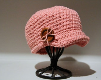 Girl Newsboy Hat Visor Brim Cap Button and Bow- Cotton Made to Order BnB Custom