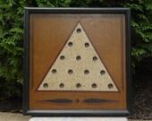 "Primitive Wood Solitaire Game Board Folk Art 10"" x 10"" gameboard"