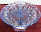Vintage Circa 1960's Blue Pressed Divided Olive/Relish Dish
