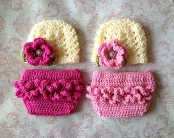 Twin Ashlee Beanies in Ecru, Baby Pink, Hot Pink and Green with Matching Diaper Covers Available in Newborn to 24 Month Size- MADE TO ORDER