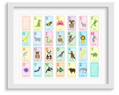 Alphabet Animal Poster - Alphabet Nursery Art - Animal Alphabet Print  - 11x14 Print