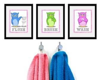 Bathroom Owls Kids Art - Set of Three 8 x 10 Bathroom Decor Prints - owl collection, bathroom art, kids girl bath