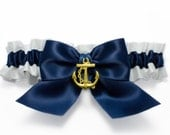 Garter single - garter in white and navy blue satin with a navy blue satin bow and gold anchor charm- Simply Satin Garter