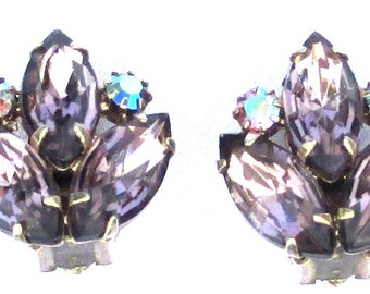 Vintage Designer Pale Purple and AB Rhinestone Earrings, Clip on, Conversion to Pierced Available