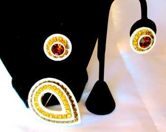 Unusual Golden and Amber Rhinestone Brooch and Earrings, Enameled Metal, Unsigned