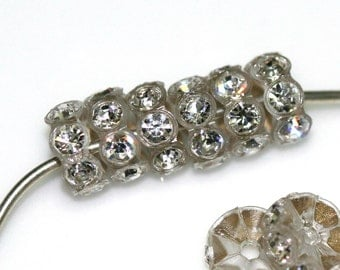25 pcs Vintage Swarovski Crystal Rhinestone Rondell Spacer Beads 7 mm
