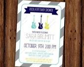 Rock a Bye Baby Shower Invitation - Guitar Music Invitation - Printable File or Printed Invitations