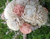 Handmade Natural Balsa Wood Flower Wedding Bouquet---Sola Flower Bouquet