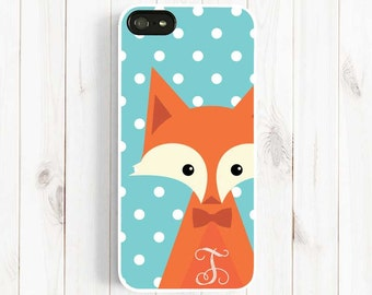 Fox iPhone 6 Case, Personalized First Initial iPhone 7 6 plus case, iPhone 5s 5c 5 4s Case, Samsung Galaxy s5 s4 s3, Note 3 Case Am05