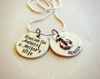 GORGEOUS hand stamped mother and son anchor necklace, sweet and simple, the perfect gift