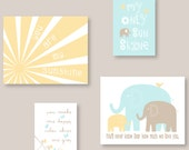 You Are My Sunshine Elephant Art Print Set in Yellow, Watery blue and Taupe Print Set for boy or girl 11X14 and 8X10 Custom Colors