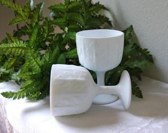 Pair Small Oak Pattern FTD Milk Glass Planters
