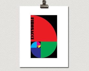 Fibonacci Color Block Poster Print CMYK RGB RYB