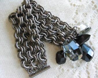 Swarovski Pendant Antique Silver Heavy Chain Bracelet