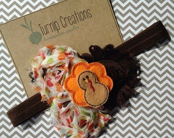 Turkey Thanksgiving Headband Shabby Flower Fall Autumn Brown, Orange polka dot Photo Prop