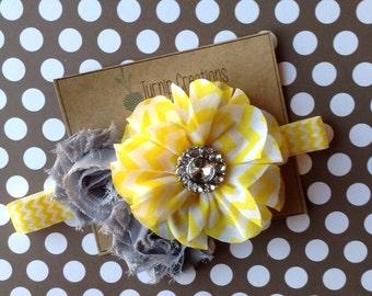 Yellow & Gray Chevron Headband Shabby Flower Headband