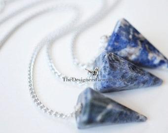 NEW - Blue Cream Sodalite Quartz Pendulum Pendant on Chain