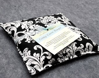 Corn Heating Pad, Corn Bag, Microwavable Heat Pack, Hot Cold Therapy Pillow, Spa Gift, Gift For Her -- Small 9x9 -- Damask