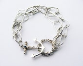 Silver Seaweed and anchor bracelet with gemstone. Sirene collection
